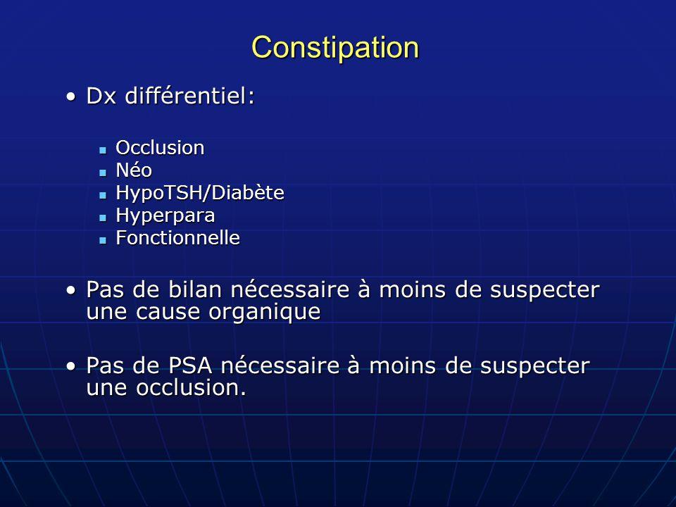 Constipation Dx différentiel:
