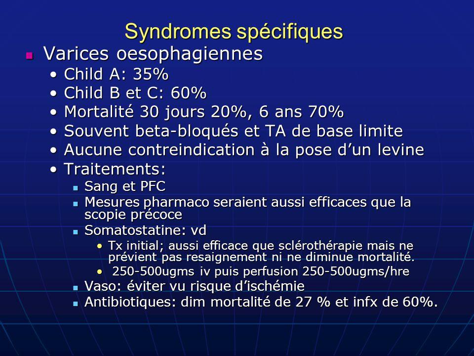 Syndromes spécifiques