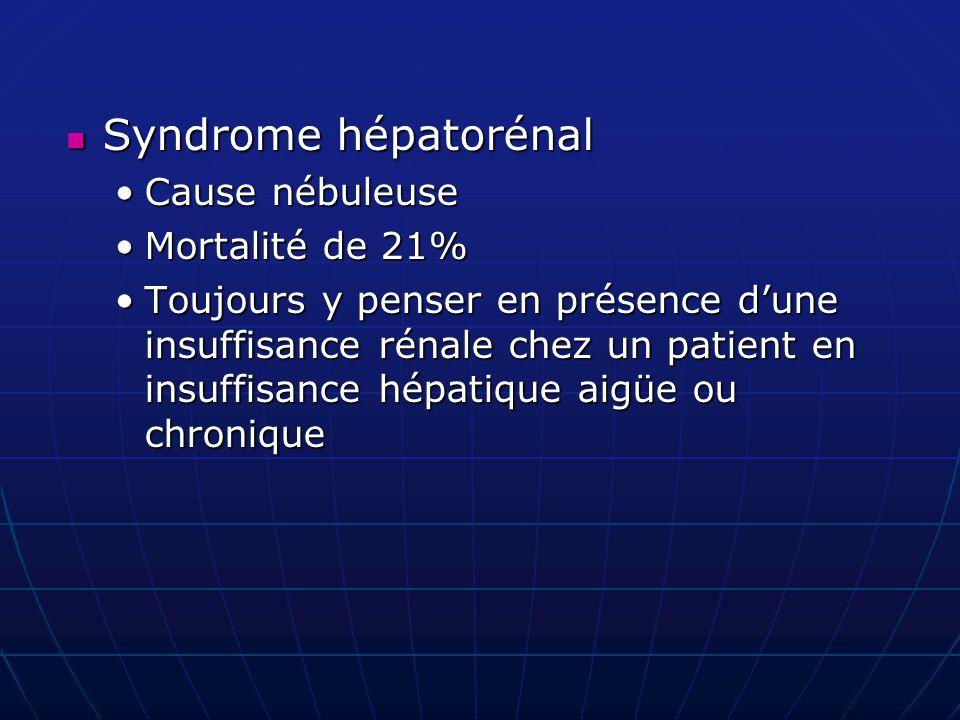 Syndrome hépatorénal Cause nébuleuse Mortalité de 21%
