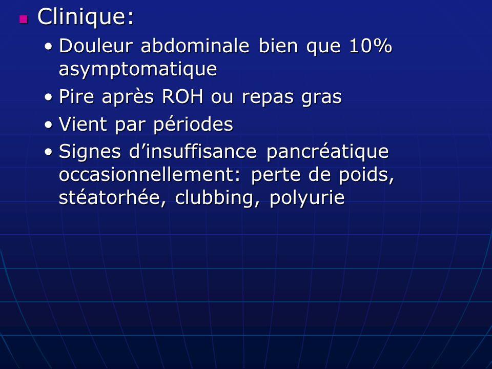 Clinique: Douleur abdominale bien que 10% asymptomatique