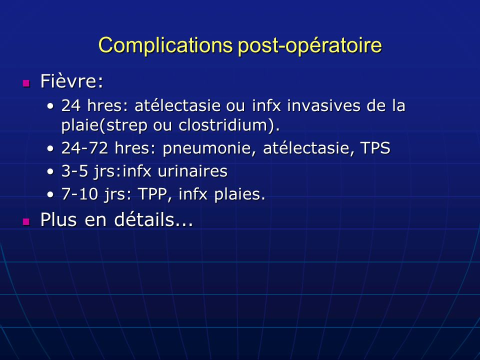 Complications post-opératoire