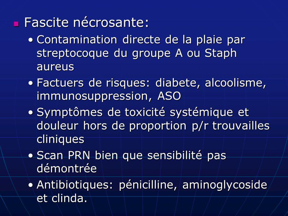Fascite nécrosante: Contamination directe de la plaie par streptocoque du groupe A ou Staph aureus.