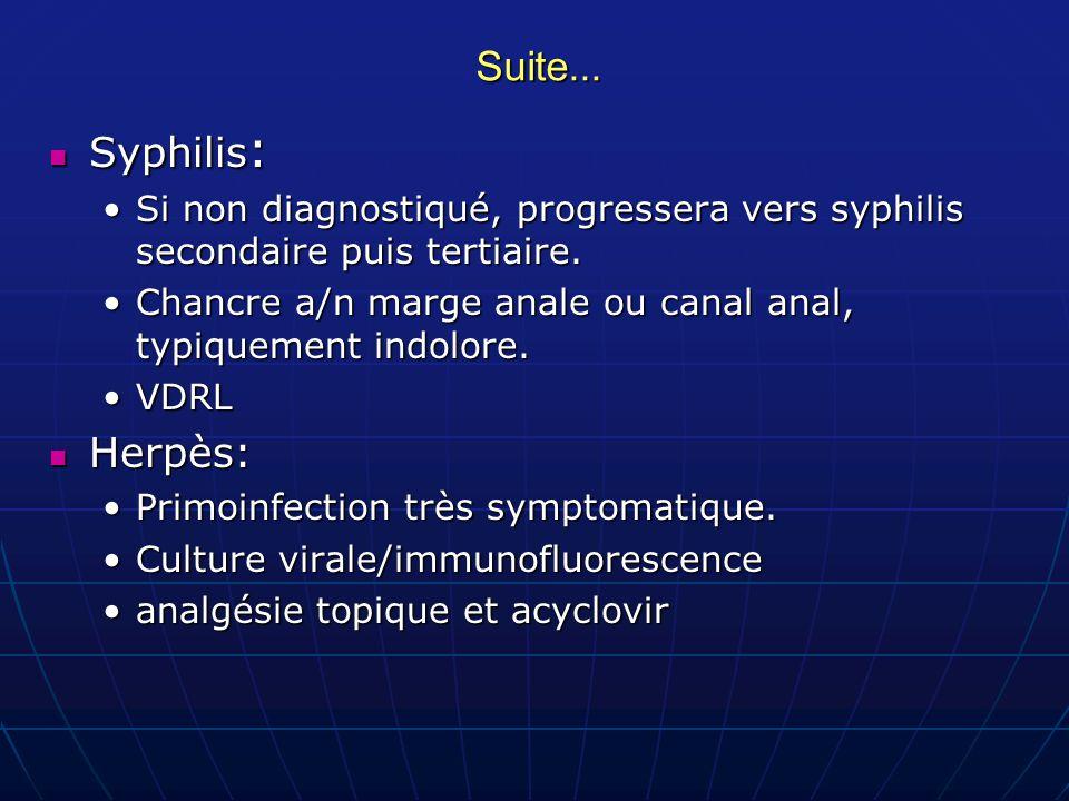 Suite... Syphilis: Herpès: