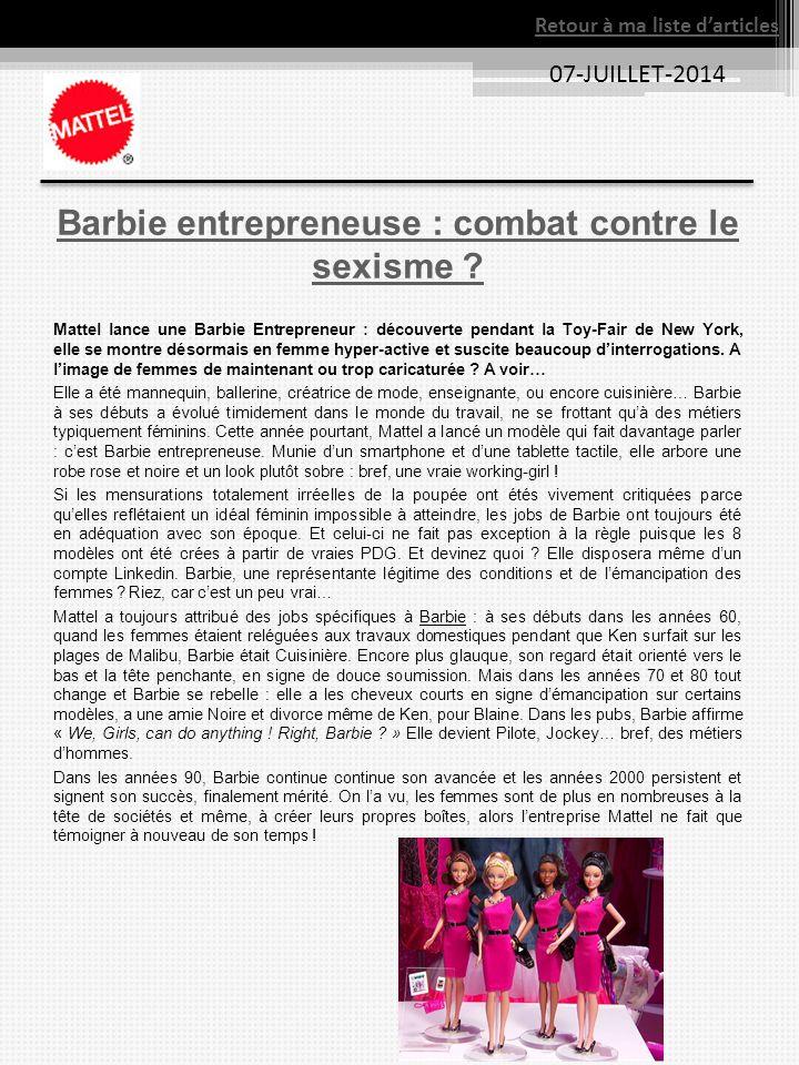 Barbie entrepreneuse : combat contre le sexisme