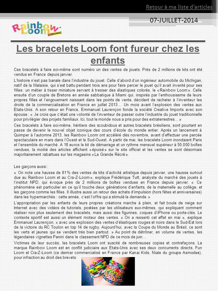 Les bracelets Loom font fureur chez les enfants