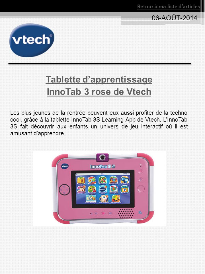 Tablette d'apprentissage