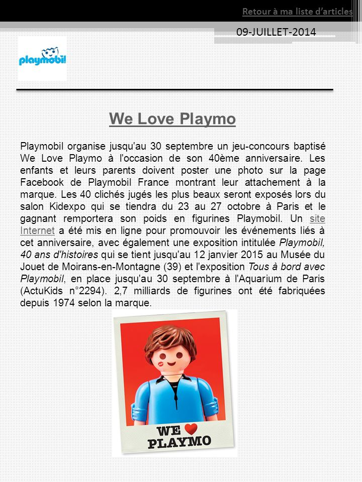 We Love Playmo 09-JUILLET-2014 Retour à ma liste d'articles