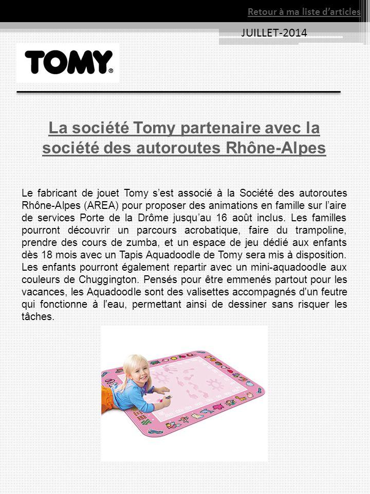 La société Tomy partenaire avec la société des autoroutes Rhône-Alpes