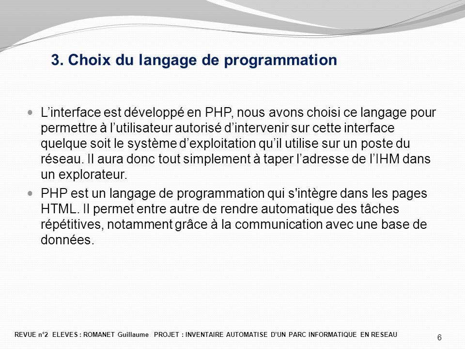 3. Choix du langage de programmation