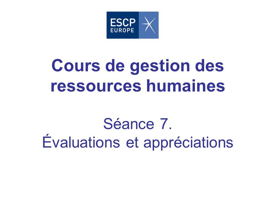Cours de gestion des ressources humaines Séance 7