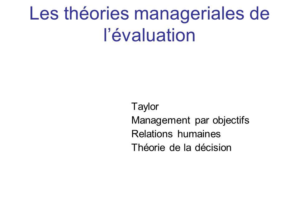 Les théories manageriales de l'évaluation