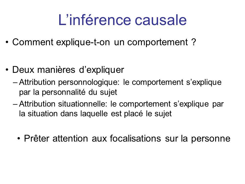 L'inférence causale Comment explique-t-on un comportement
