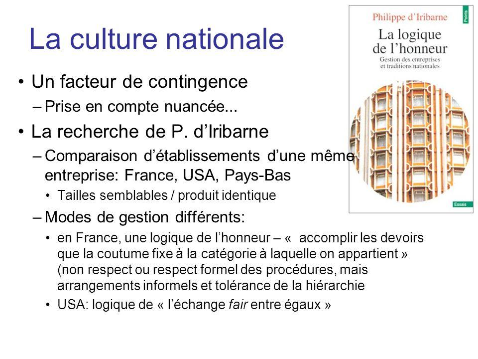 La culture nationale Un facteur de contingence