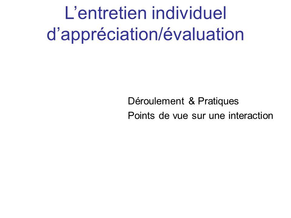 L'entretien individuel d'appréciation/évaluation