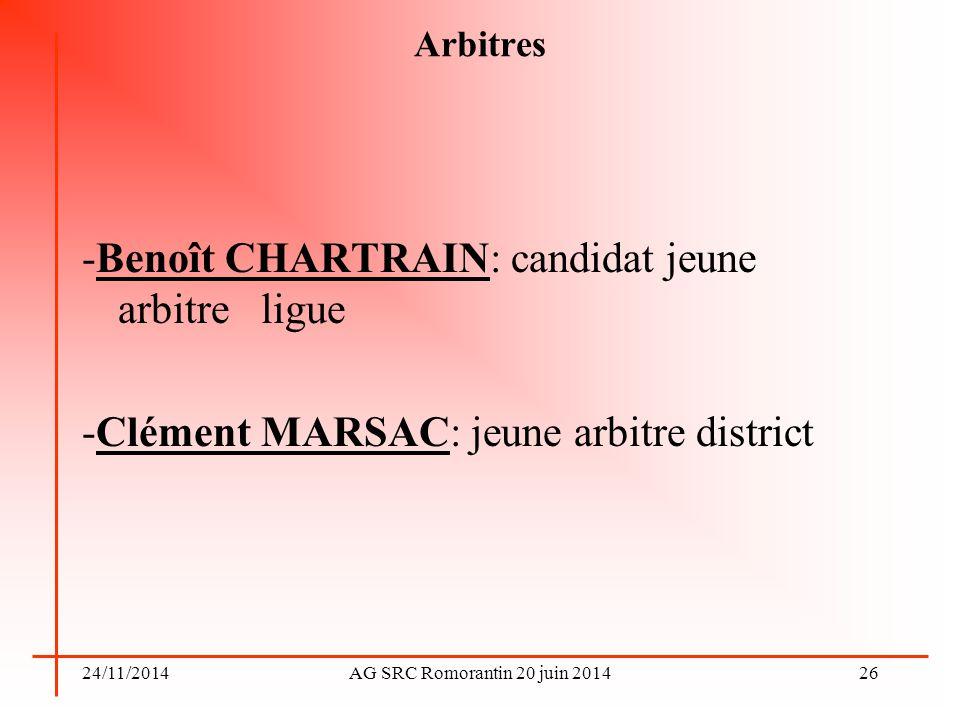 -Benoît CHARTRAIN: candidat jeune arbitre ligue