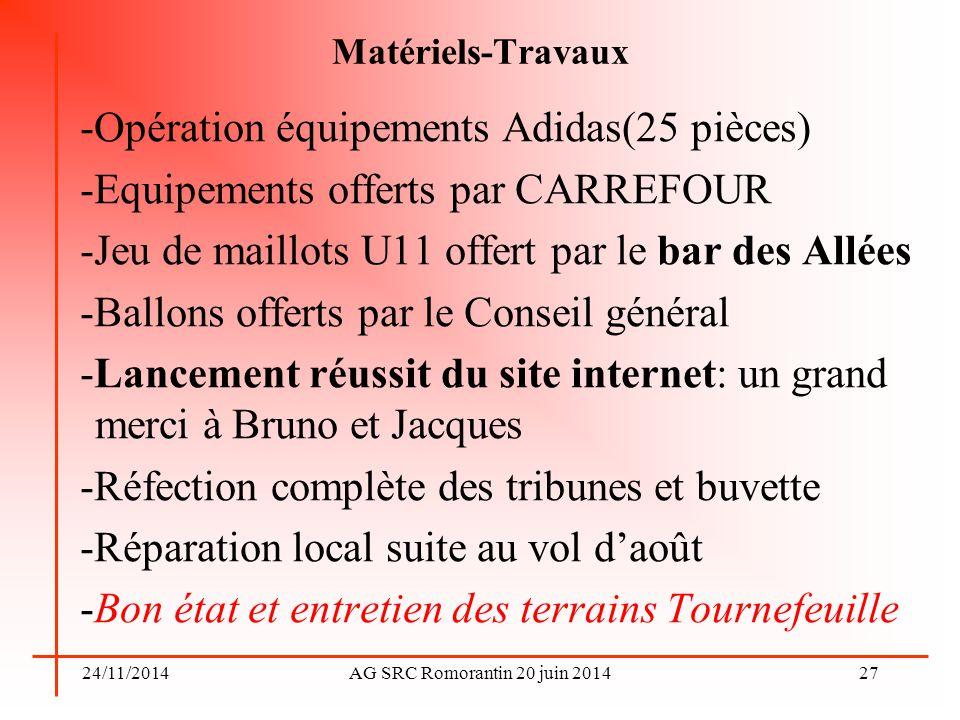 -Opération équipements Adidas(25 pièces)