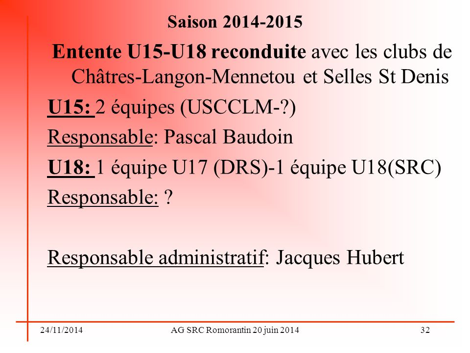 Responsable: Pascal Baudoin U18: 1 équipe U17 (DRS)-1 équipe U18(SRC)