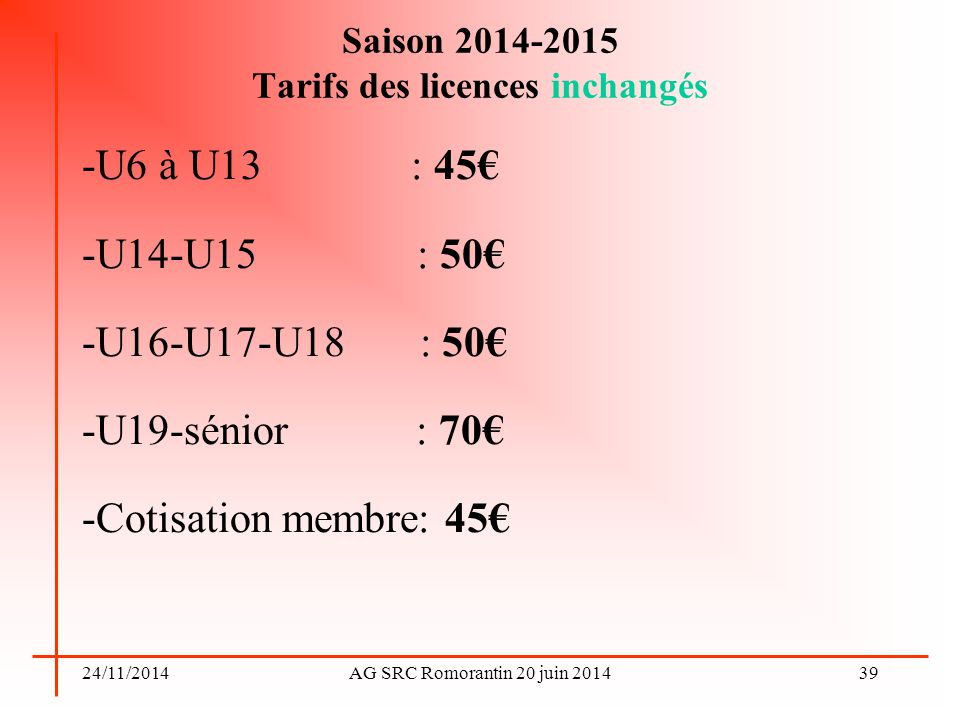 Saison 2014-2015 Tarifs des licences inchangés