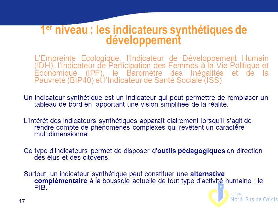 1er niveau : les indicateurs synthétiques de développement