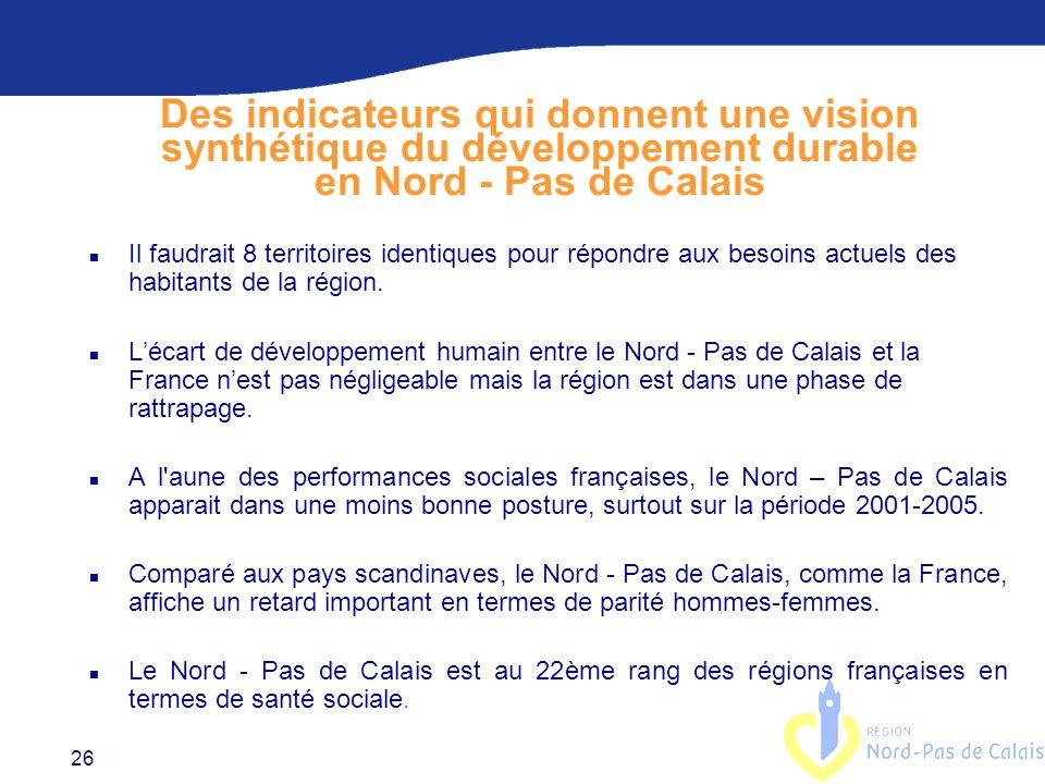 Des indicateurs qui donnent une vision synthétique du développement durable en Nord - Pas de Calais