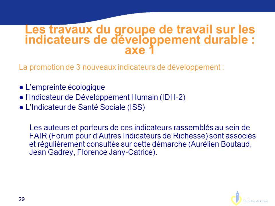 Les travaux du groupe de travail sur les indicateurs de développement durable : axe 1