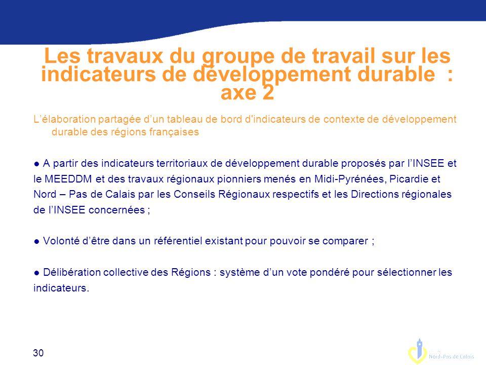 Les travaux du groupe de travail sur les indicateurs de développement durable : axe 2