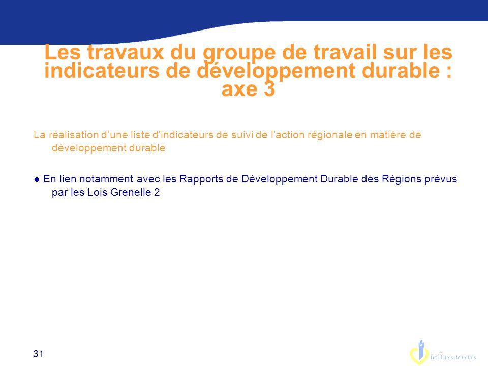 Les travaux du groupe de travail sur les indicateurs de développement durable : axe 3