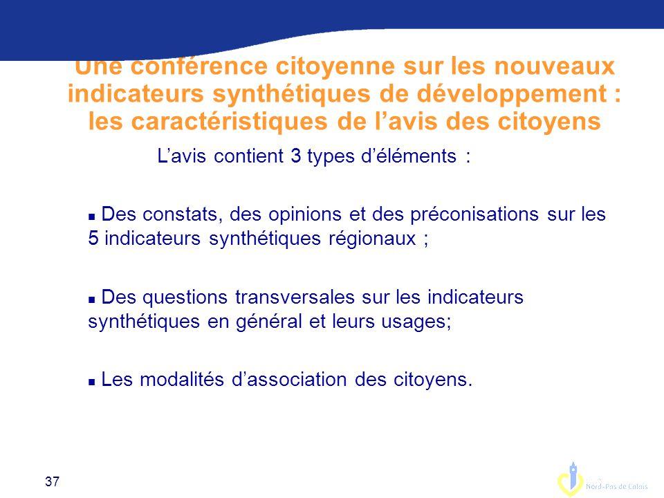 Une conférence citoyenne sur les nouveaux indicateurs synthétiques de développement : les caractéristiques de l'avis des citoyens