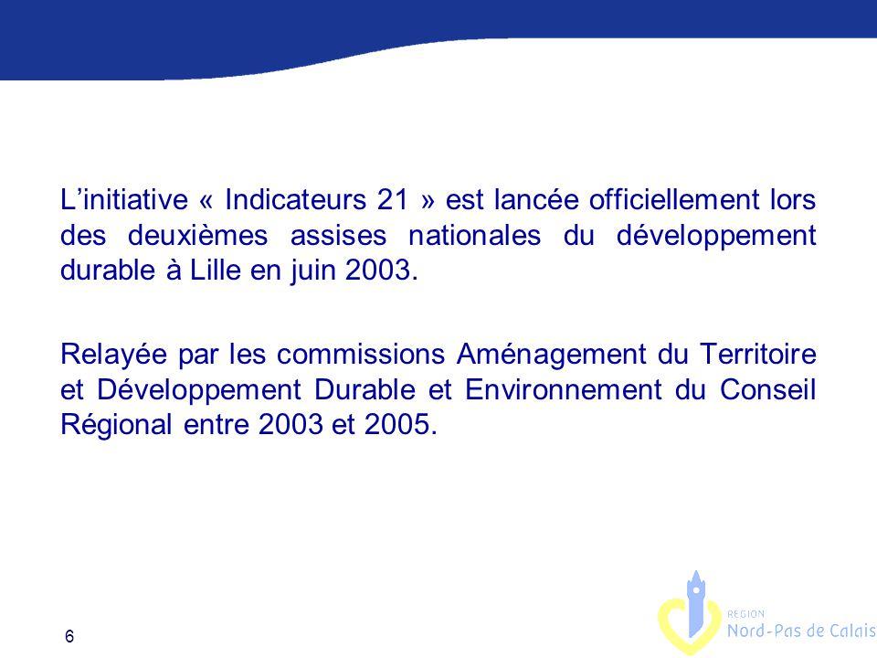 L'initiative « Indicateurs 21 » est lancée officiellement lors des deuxièmes assises nationales du développement durable à Lille en juin 2003.