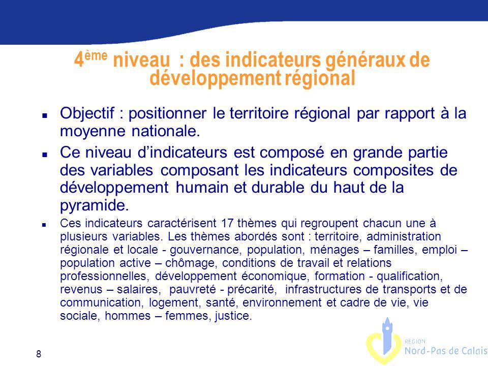 4ème niveau : des indicateurs généraux de développement régional