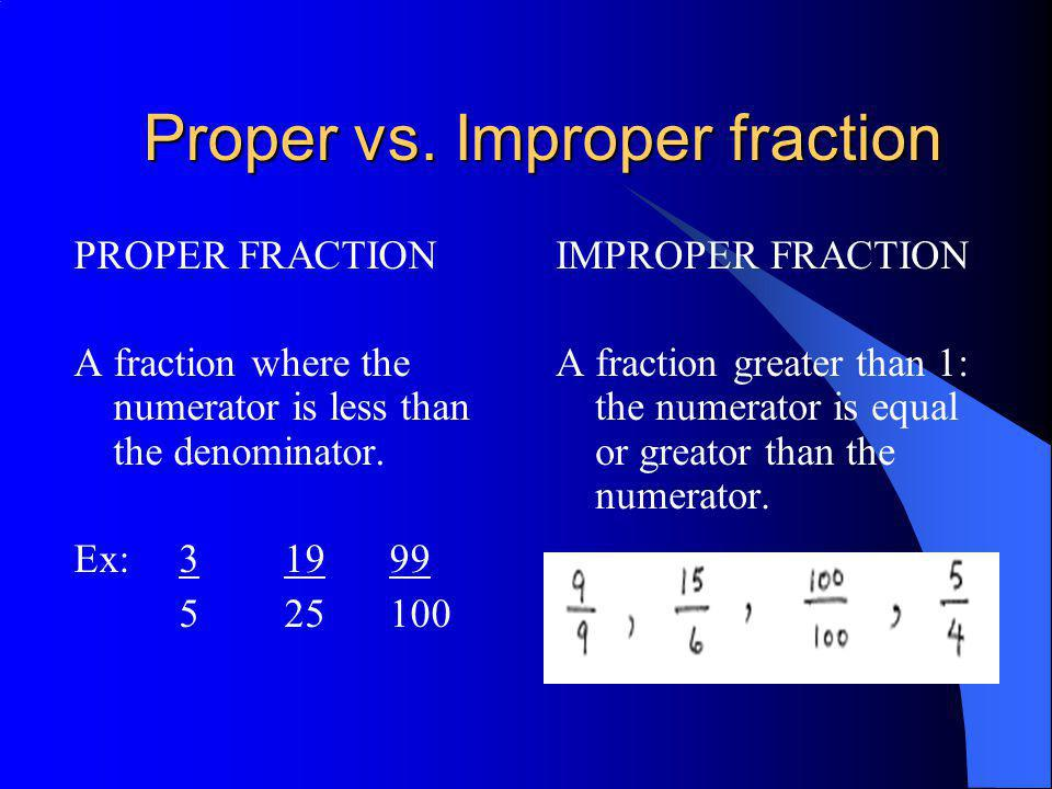 Proper vs. Improper fraction