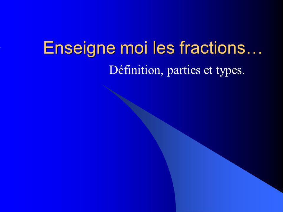 Enseigne moi les fractions…