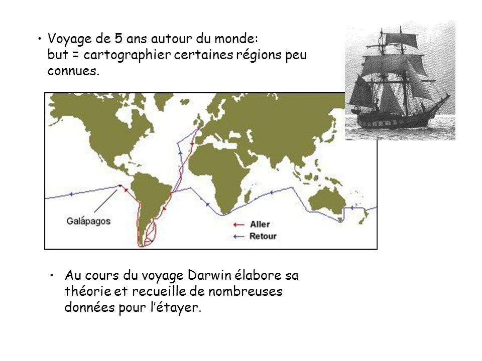 Voyage de 5 ans autour du monde: but = cartographier certaines régions peu connues.