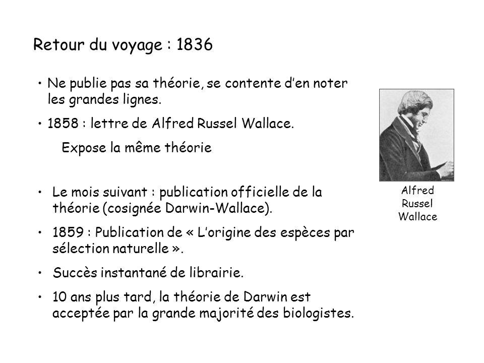 Retour du voyage : 1836 Ne publie pas sa théorie, se contente d'en noter les grandes lignes. 1858 : lettre de Alfred Russel Wallace.