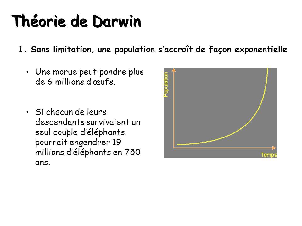Théorie de Darwin 1. Sans limitation, une population s'accroît de façon exponentielle. Une morue peut pondre plus de 6 millions d'œufs.