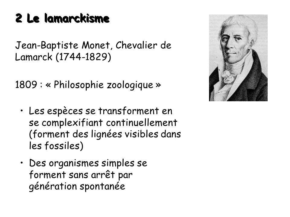 2 Le lamarckisme Jean-Baptiste Monet, Chevalier de Lamarck (1744-1829)
