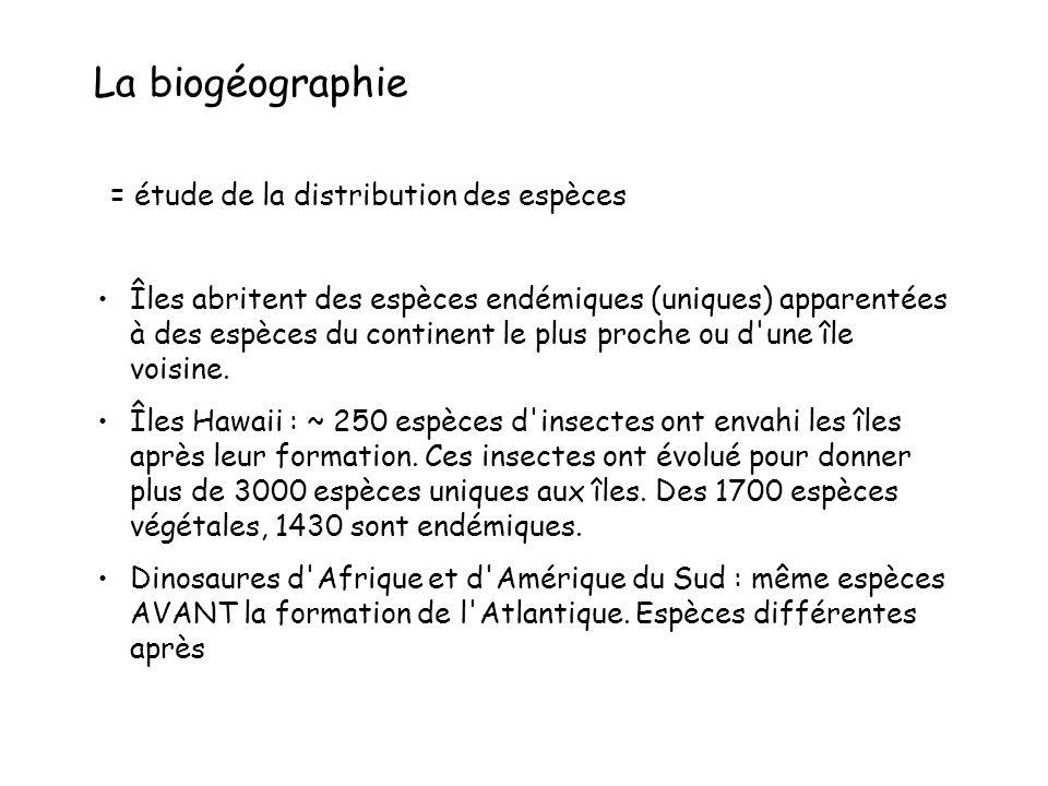 La biogéographie = étude de la distribution des espèces