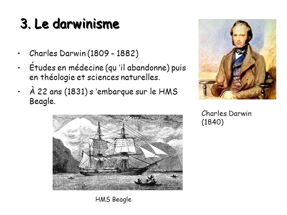 3. Le darwinisme Charles Darwin (1809 - 1882)