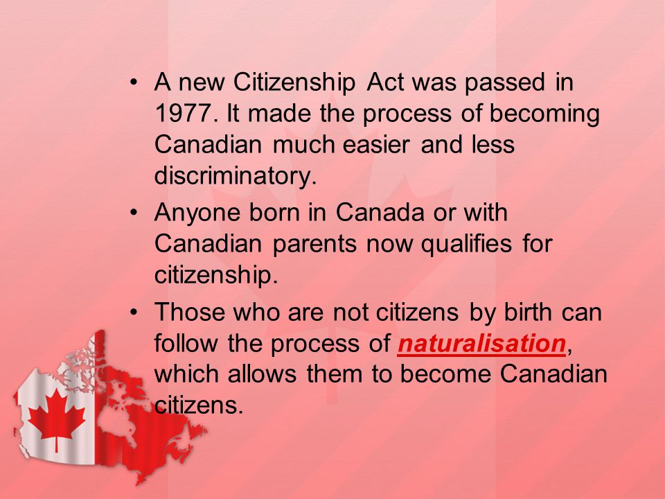 A new Citizenship Act was passed in 1977