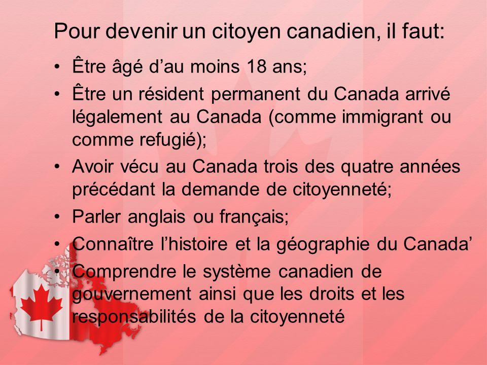 Pour devenir un citoyen canadien, il faut: