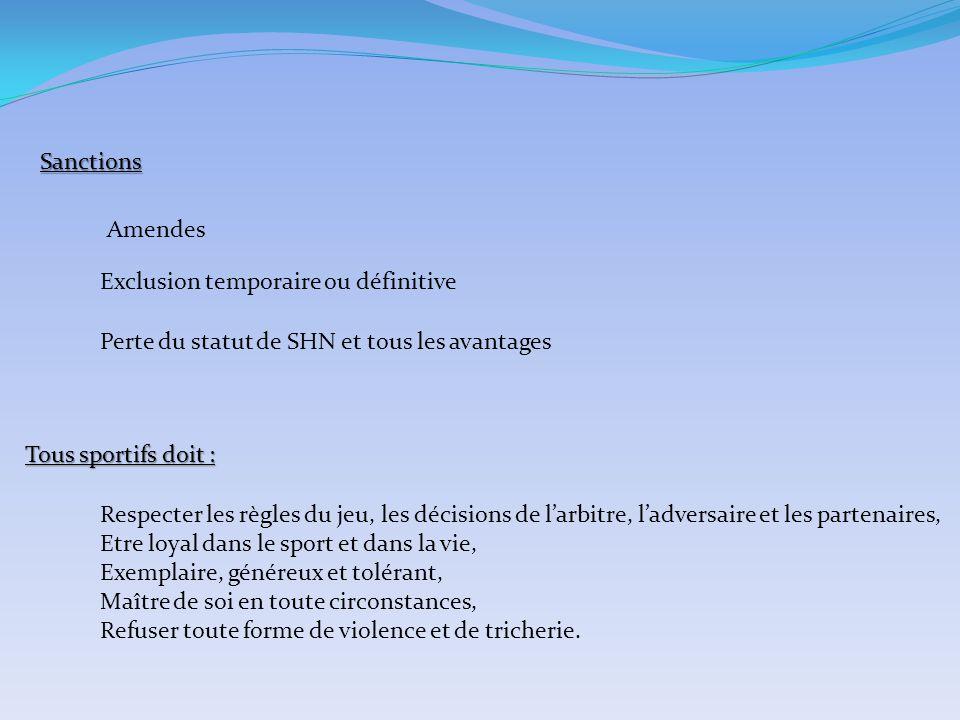 Sanctions Amendes. Exclusion temporaire ou définitive. Perte du statut de SHN et tous les avantages.