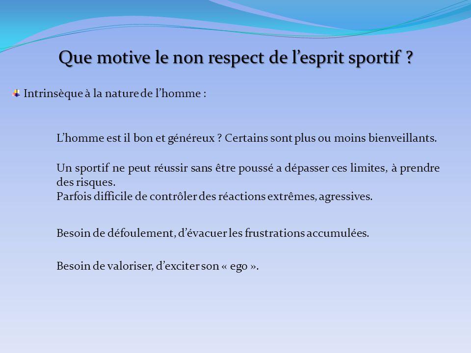 Que motive le non respect de l'esprit sportif