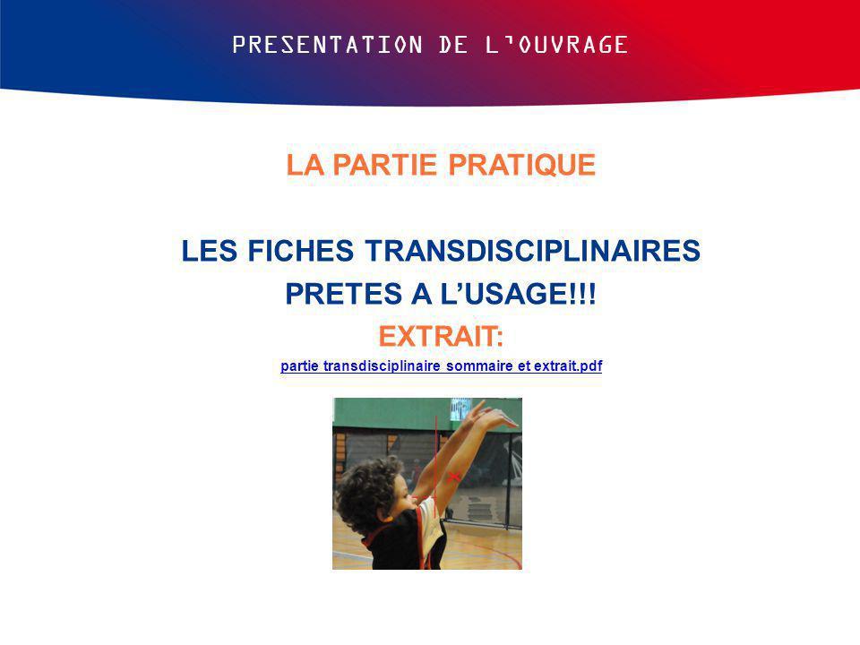 LA PARTIE PRATIQUE LES FICHES TRANSDISCIPLINAIRES PRETES A L'USAGE!!!