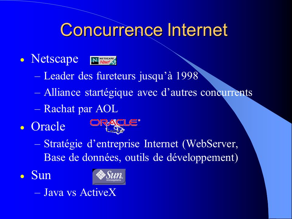 Concurrence Internet Netscape Oracle Sun