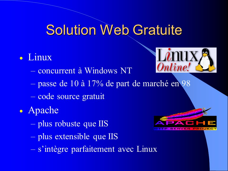 Solution Web Gratuite Linux Apache concurrent à Windows NT