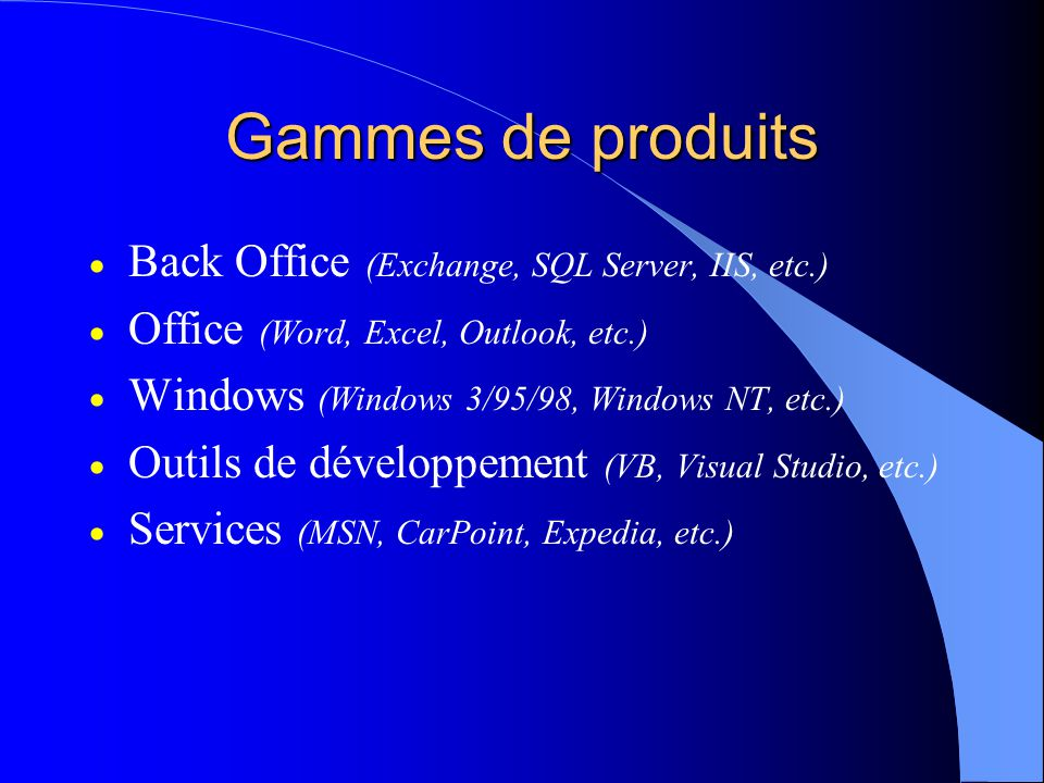 Gammes de produits Back Office (Exchange, SQL Server, IIS, etc.)