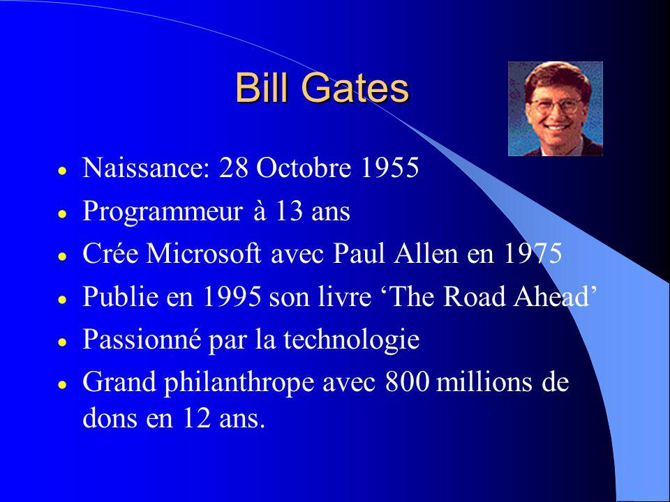 Bill Gates Naissance: 28 Octobre 1955 Programmeur à 13 ans