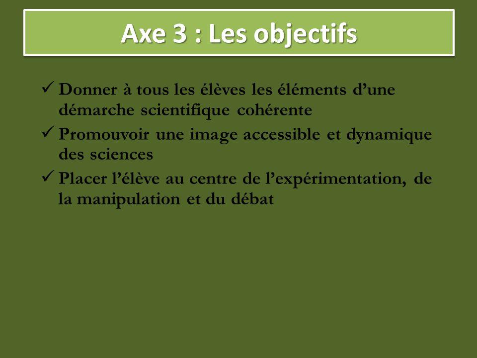 Axe 3 : Les objectifs Donner à tous les élèves les éléments d'une démarche scientifique cohérente.