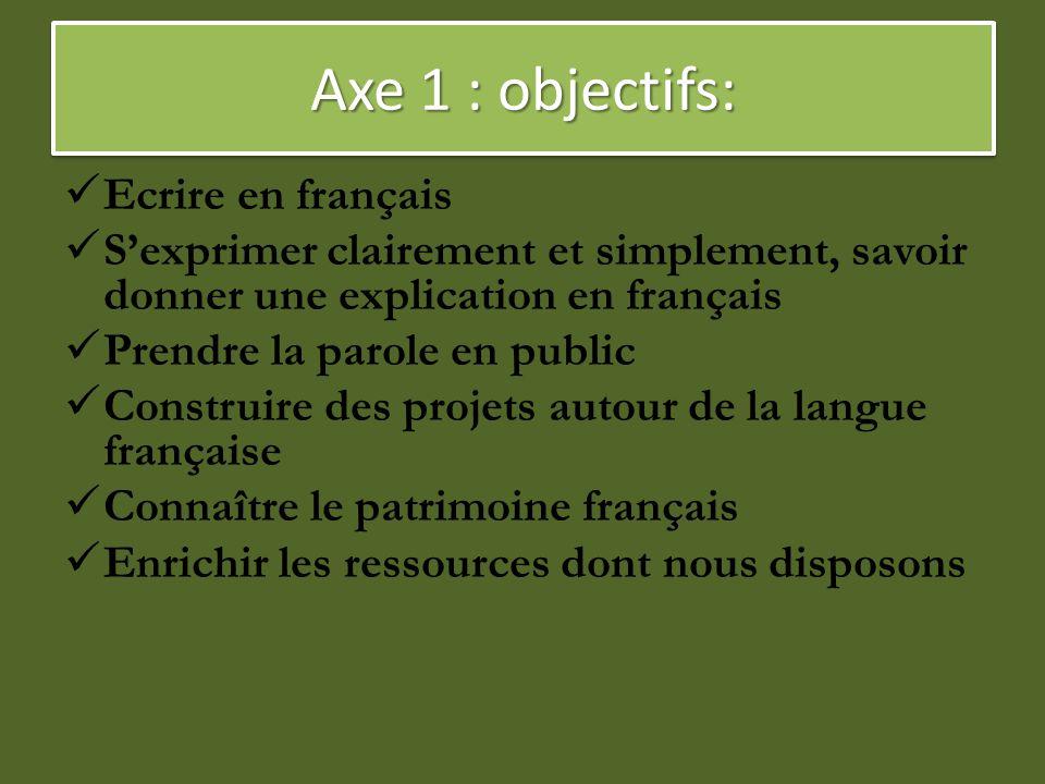 Axe 1 : objectifs: Ecrire en français