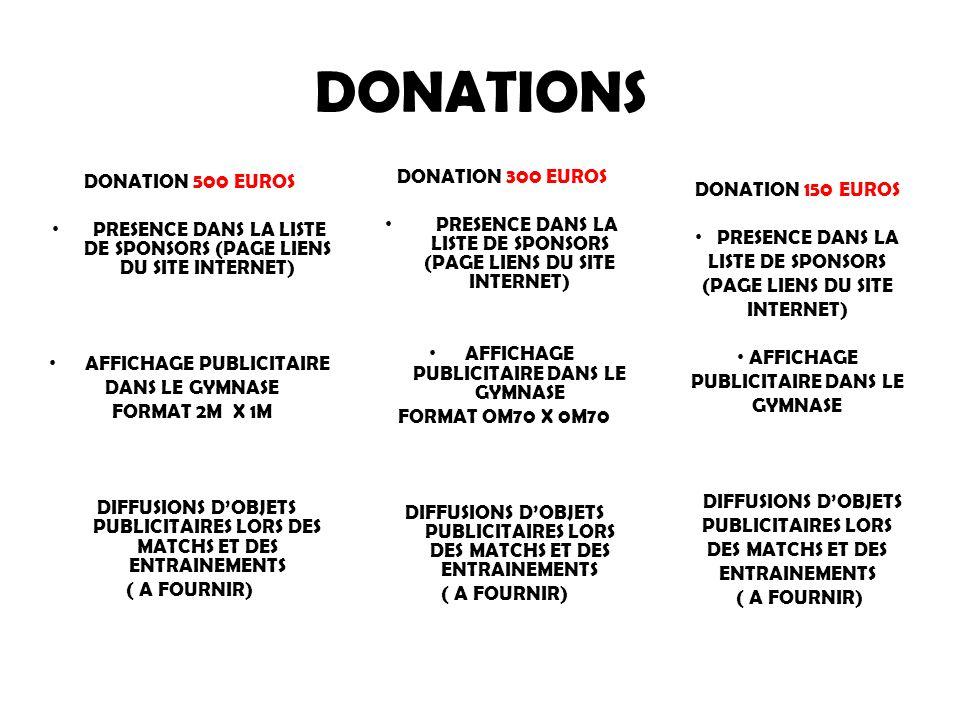DONATIONS DONATION 300 EUROS DONATION 500 EUROS DONATION 150 EUROS